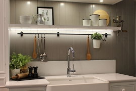 Backsplash with decorative shelf